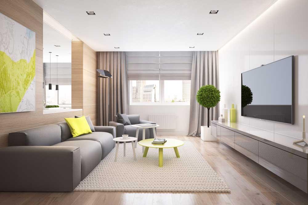 Интерьер гостиной с серым диваном фото