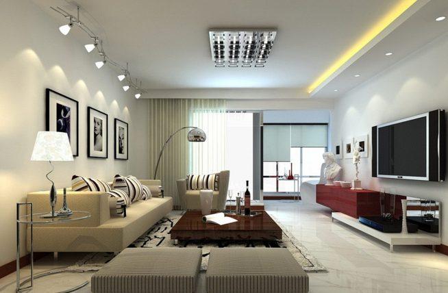 Гостиная с многоуровневым потолком