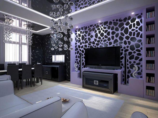 Гостиная с подвесным потолком в серых тонах