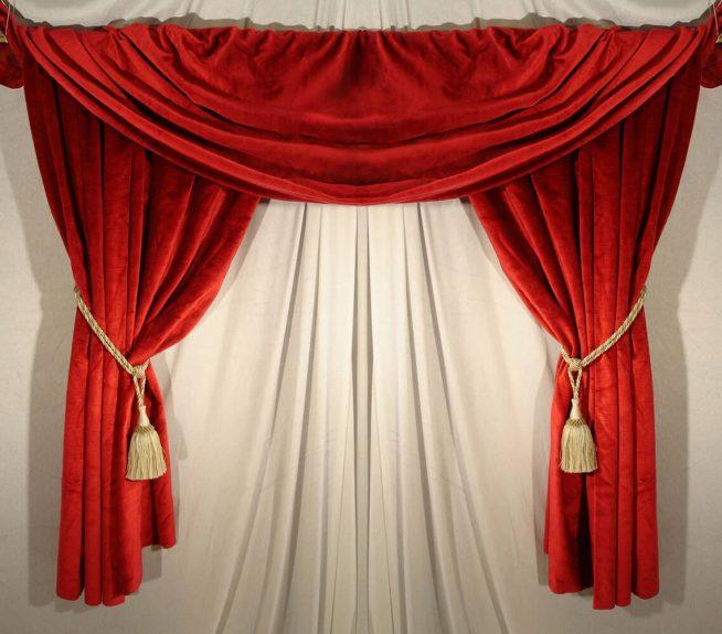 Короткие шторы красного цвета
