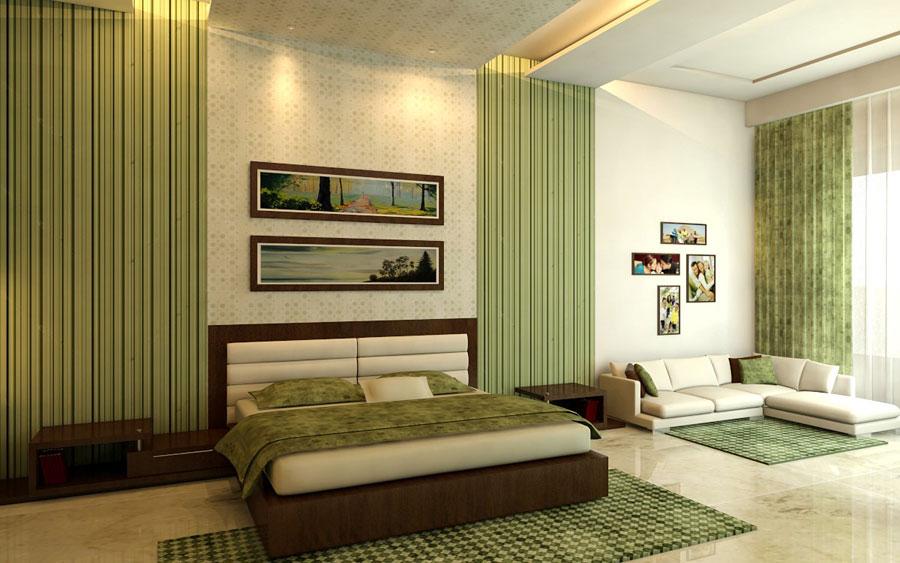 Зеленые шторы в спальню дизайн