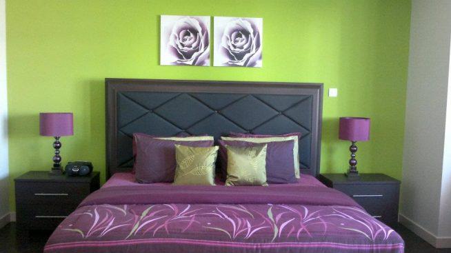 фото спальни цвет сиреневый-салатовый
