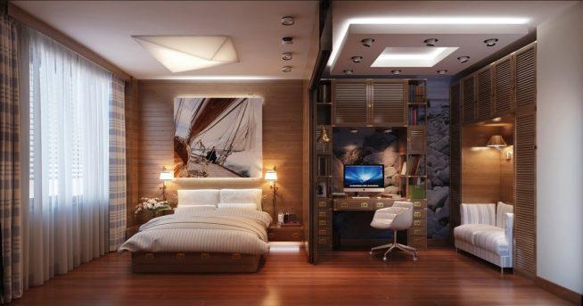 Спальня с рабочей зоной, отделённой перегородкой и дополнительным освещением