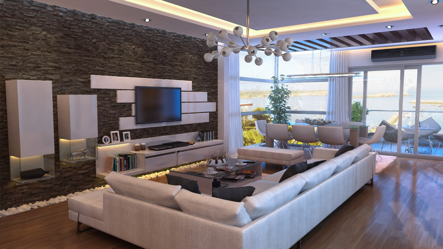 Современный дизайн стен в гостиной фото современные идеи