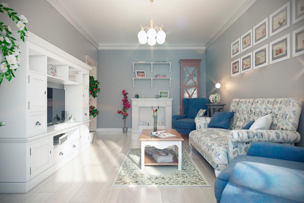 Дизайн гостиной 17 кв.м. прованс