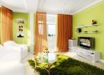 Гостиная в зелёных тонах