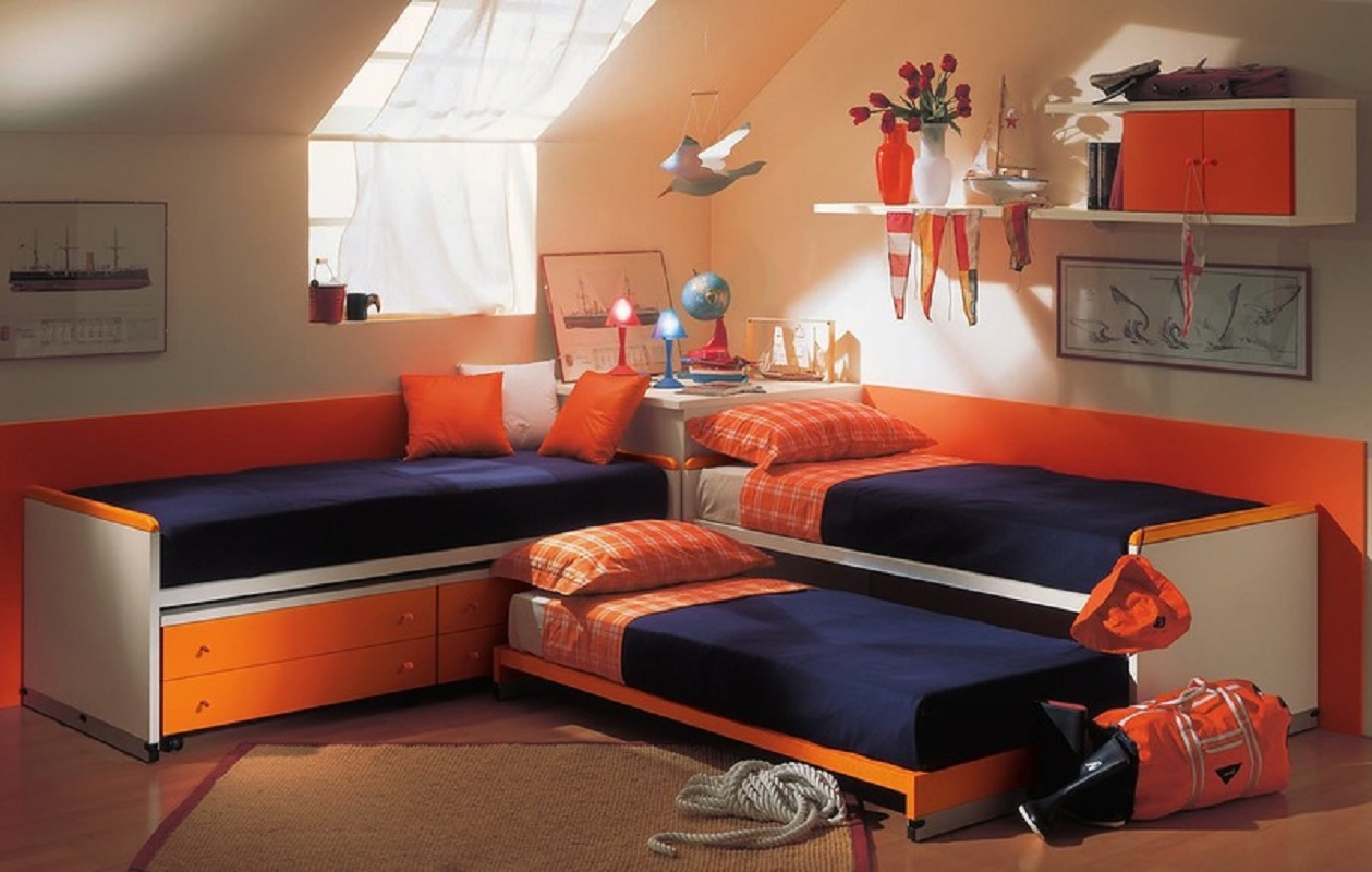 Детская комната для троих мальчиков дизайн