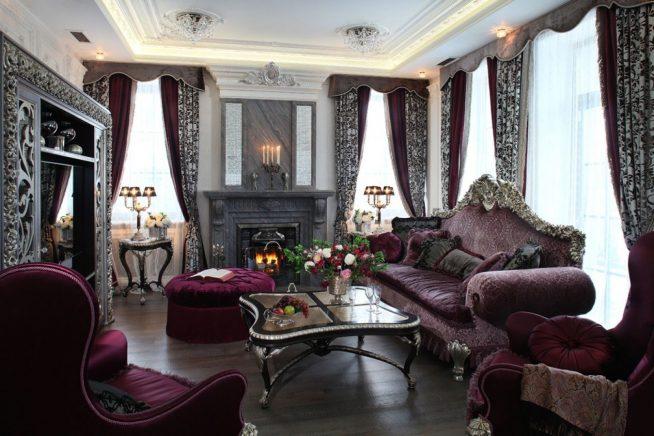 Портьеры в гостиной «царского» стиля