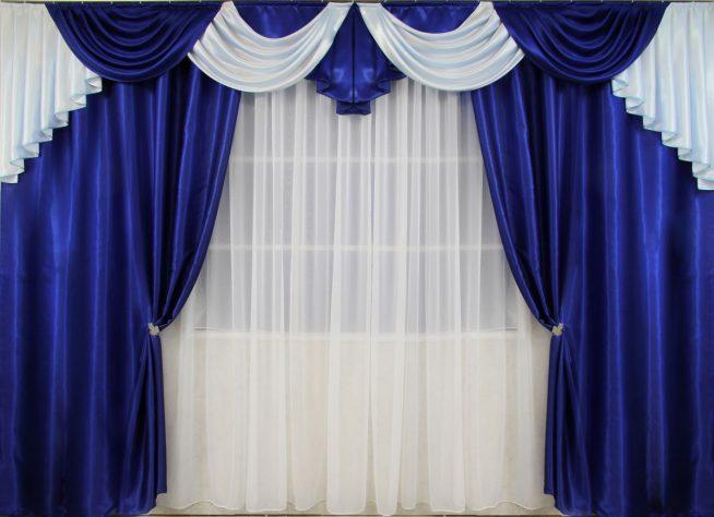 Синие шторы для гостиной