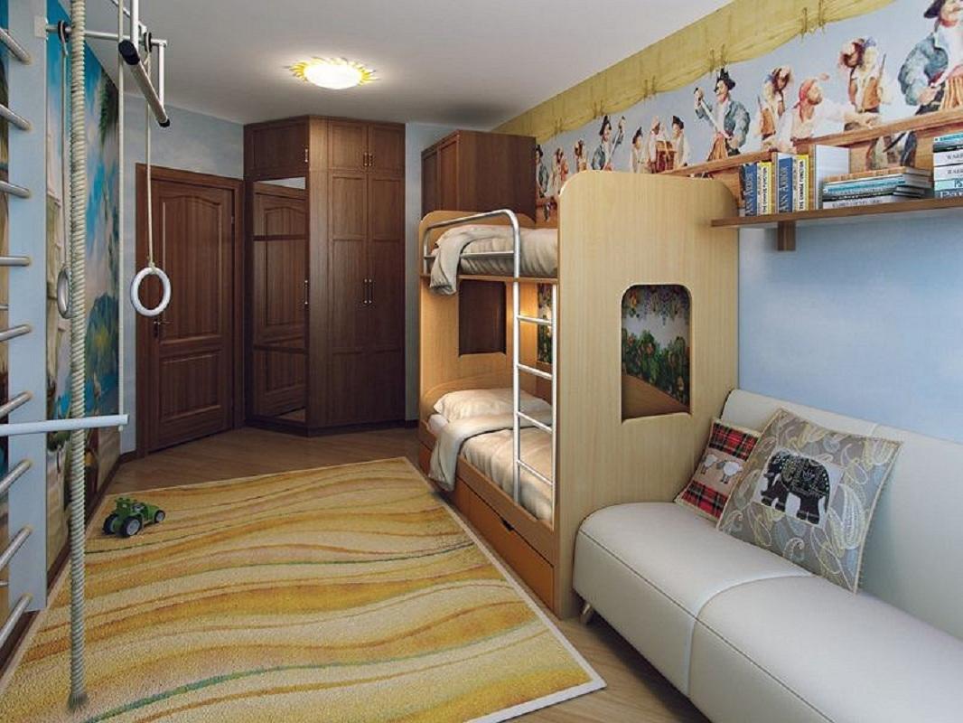 Планировка детской комнаты для 2 детей : дизайн длинной, как расставить