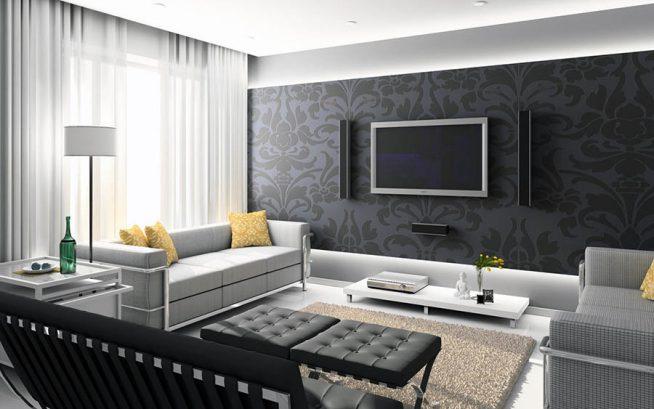 Черно-бело-серый интерьер