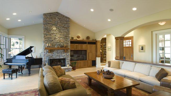 Освещение и зонирование в гостиной