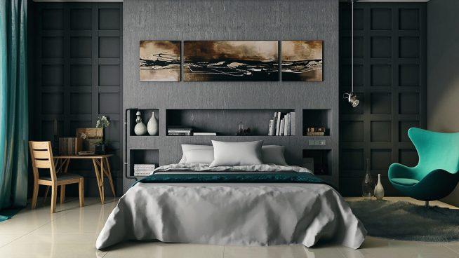 Серая спальня с бирюзовыми акцентами