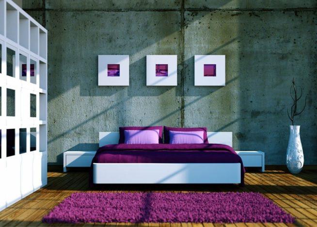 Серо-фиолетовая спальня в стиле минимализм