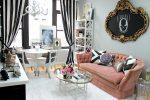 Серый и розовый цвет в гостиной