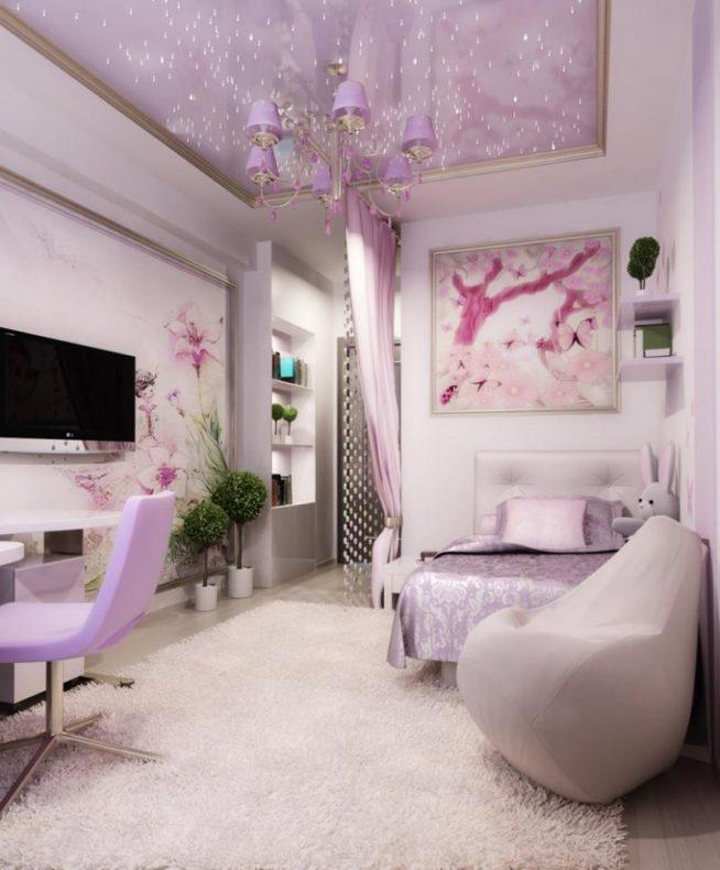Интерьер комнаты в нежных розово-серых тонах