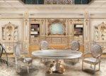 Бежевая гостиная в барочном стиле