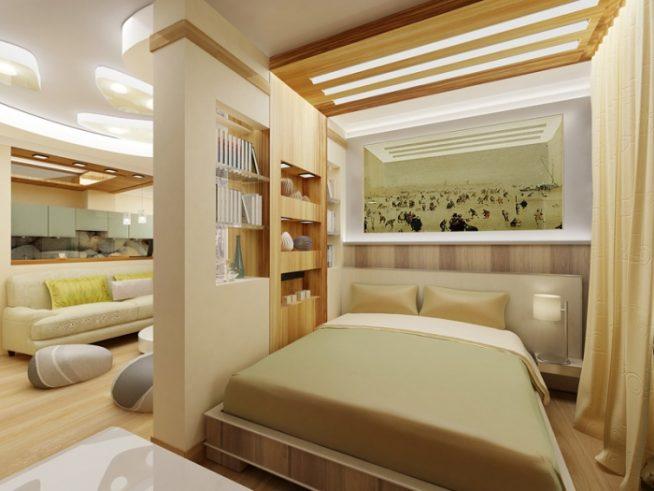 Гипсокартонная перегородка в совмещённой комнате