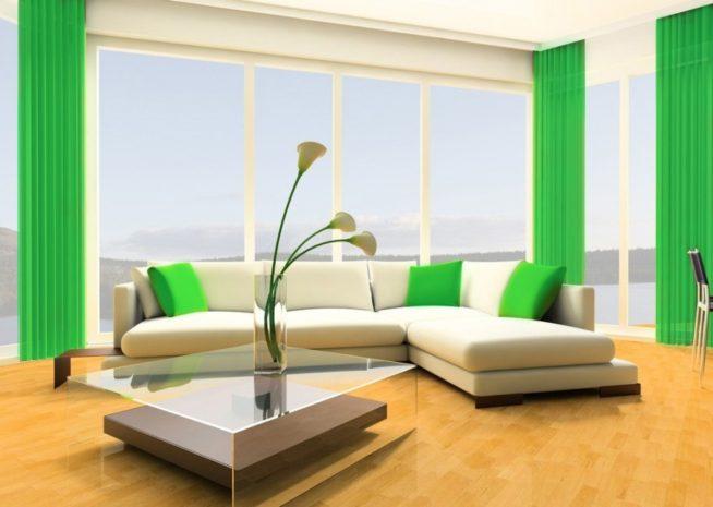 Малахитовые шторы в современном интерьере