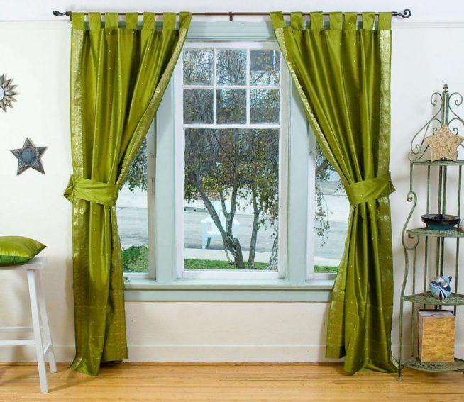 Насыщенные оливковые шторы