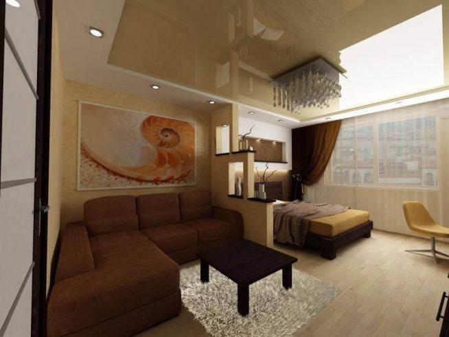 Освещение в совмещенной гостиной и спальне