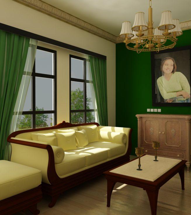 Интерьер со стенами и шторами тёмно-зелёного оттенка