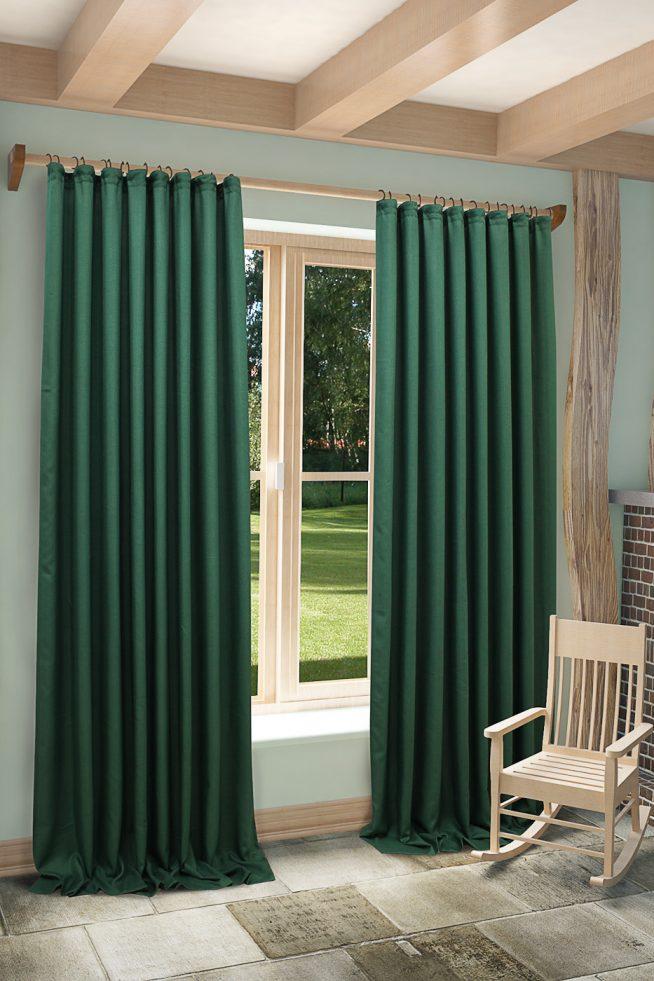 Тёмные зелёные шторы в современном интерьере