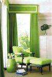 Зелёные шторы с ламбрекеном