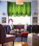 Зелёная французская штора