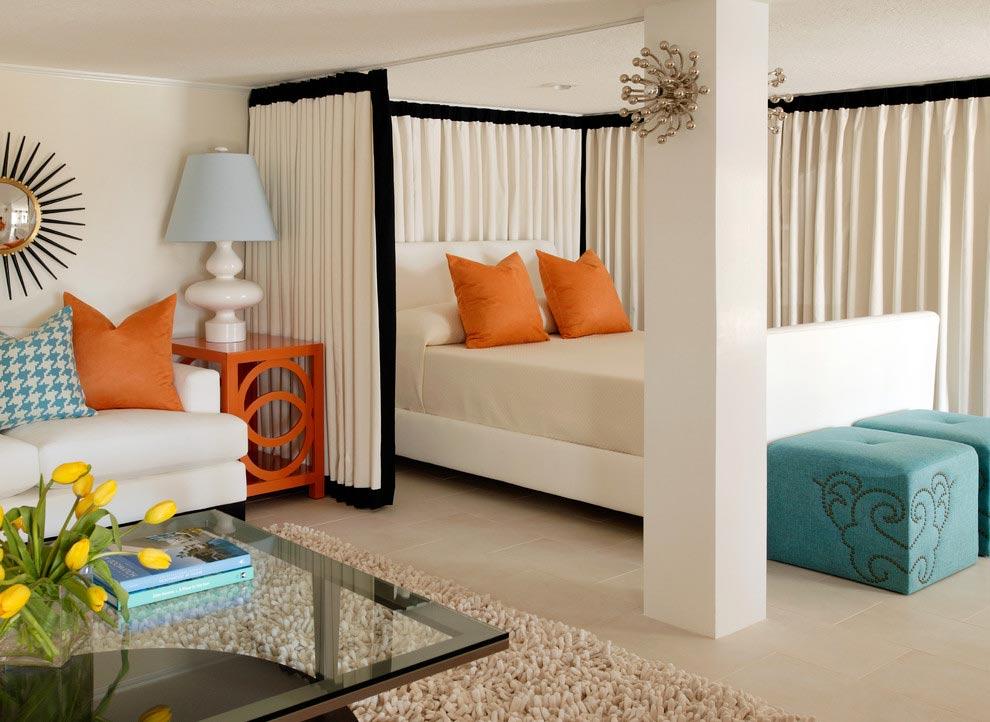Интерьер спальни в однокомнатной квартире фото