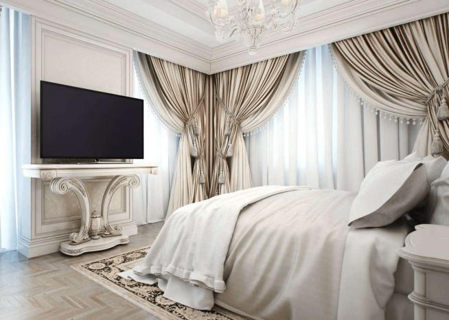 Шторы в оформлении спальни