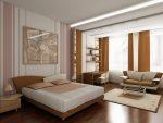 Спальня-гостиная в бежевых тонах