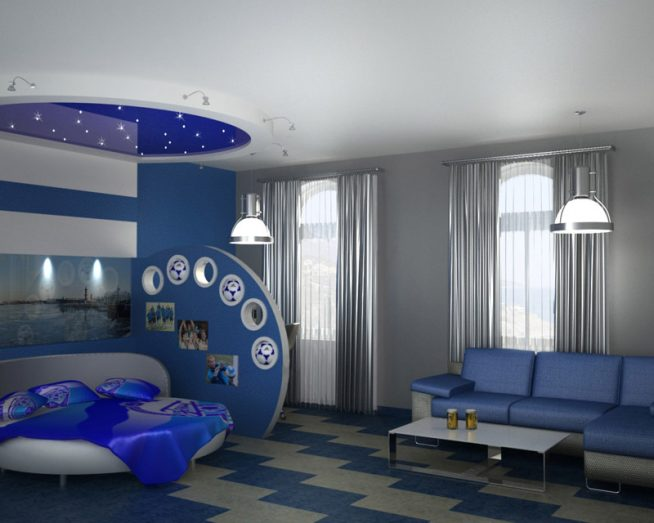 Совмещённая спальня с гостиной в стиле хай-тек