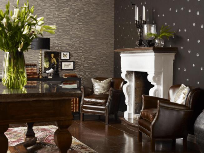 Комбинирование коричневых обое в интерьере гостиной