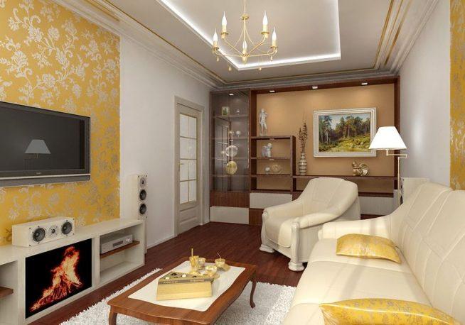 Идея дизайна гостиной с электрокамином