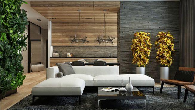Дизайн гостиной в стиле минимализм с каменной стеной