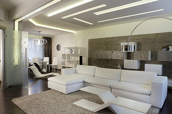 Дизайн гостиной с каменной стеной