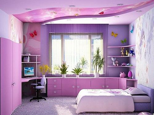 Интерьер дизайн яркой комнаты для девочки