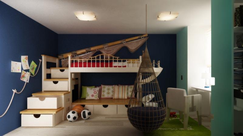 Дизайн комнаты для детей морской закалки сокровищ, приключений и путешествий