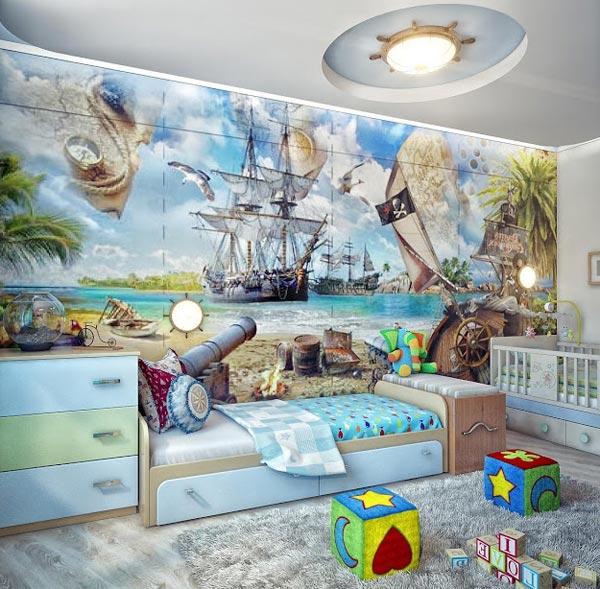 Нейтральный дизайн интерьера детской комнаты
