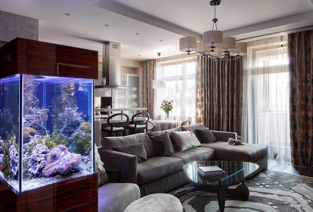 Дизайн интерьера гостиной 17 м.кв.