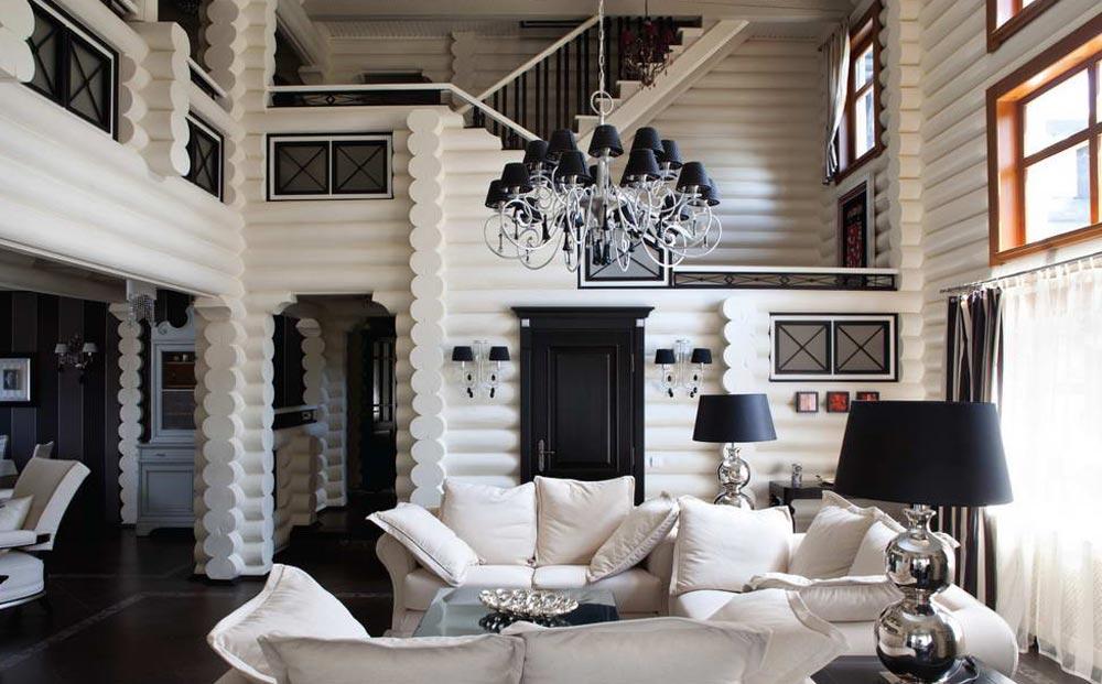 Дизайн гостиной в доме из брусьев