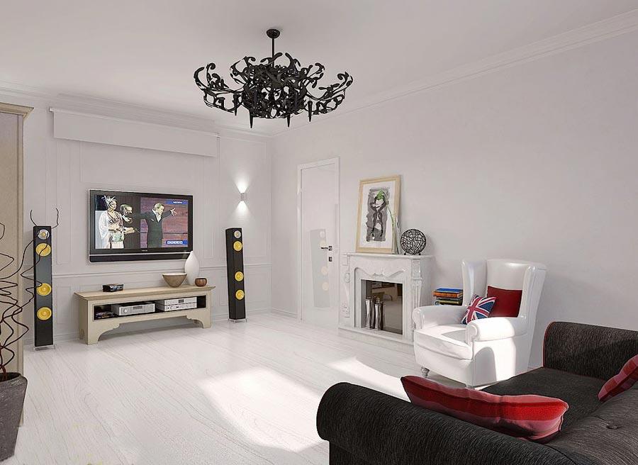 Дизайн гостиной с минимальным набором мебели