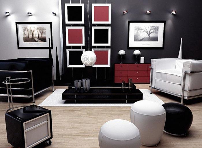 Интерьер дизайна гостиной с использованием бра