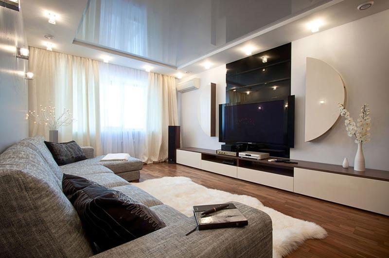 Интерьер дизайна гостиной в стиле нашего времени
