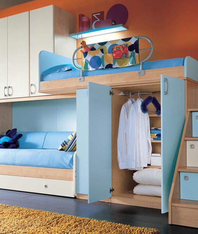 Дизайн интерьера детской с двухъярусной кроватью