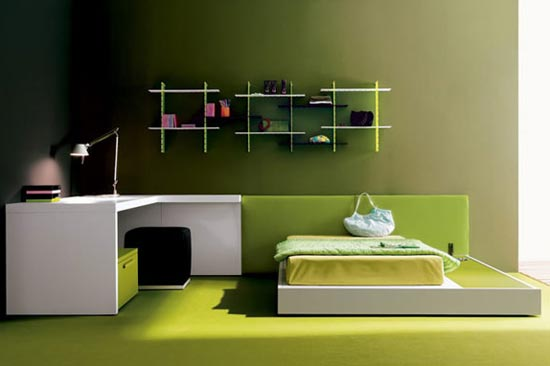 Дизайн комнаты выполнен в зеленых оттенках
