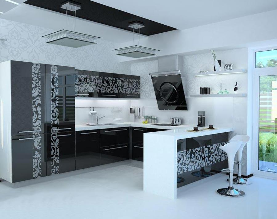 Дизайн большой кухни