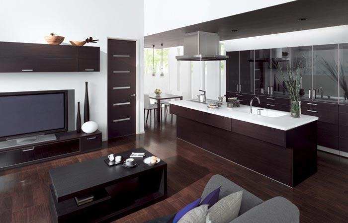 Зонирования в дизайне кухни совмещенной с залом