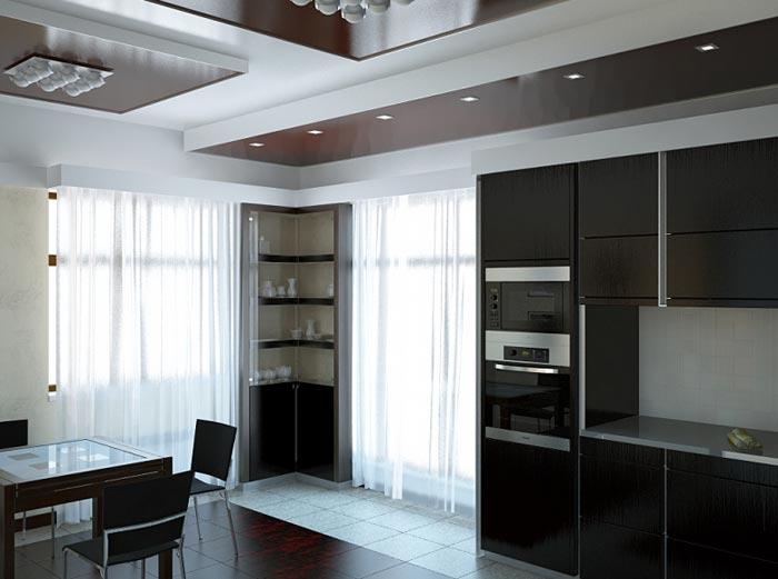 Дизайн интерьера просторной кухни столовой для всей семьи